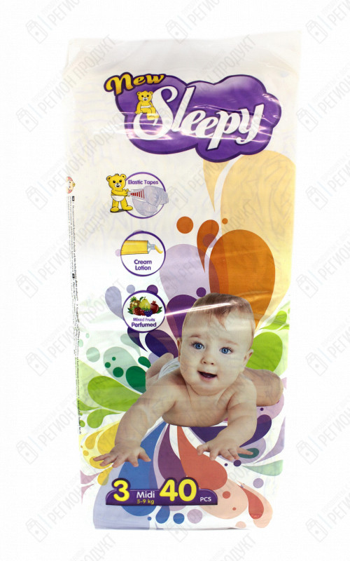 Подгузники Sleepy SUPER MIDI 4-9 кг 40 шт.